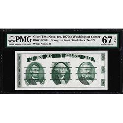 Giori Washington Face Test Note PMG Superb Gem Uncirculated 67EPQ