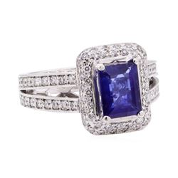 2.97 ctw Blue Sapphire And Diamond Ring - 14KT White Gold