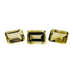 21.13 ctw.Natural Emerald Cut Citrine Quartz Parcel of Three