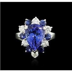14KT White Gold 4.80 ctw Tanzanite, Sapphire and Diamond Ring