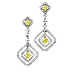 18k Two Tone Gold 2.71CTW Diamond Earrings, (VS1-VS2/G-H/Nat-yel)