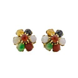 Multi-Colored Jade Flower Motif Stud Earrings - 14KT Yellow Gold