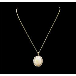 22.71 ctw Opal and Diamond Pendant With Chain - 14KT Yellow Gold