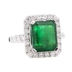 4.86 ctw Emerald and Diamond Ring - 14KT White Gold