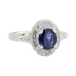 3.17 ctw Sapphire and Diamond Ring - 18KT White Gold