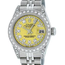 Rolex Ladies Stainless Steel Quickset Yellow Diamond Lugs Jubilee Datejust Wrist