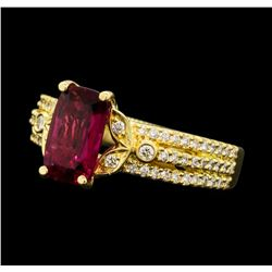 1.50 ctw Pink Tourmaling And Diamond Ring - 18KT Yellow Gold