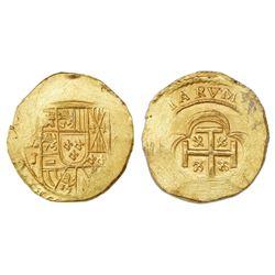 Mexico City, Mexico, cob 2 escudos, Philip V, assayer J (style of 1714), NGC MS 64, ex-1715 Fleet (d