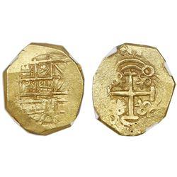 Bogota, Colombia, cob 2 escudos, Charles II, assayer (A) not visible, NGC MS 62, ex-1715 Fleet 300th
