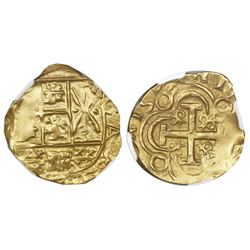 Bogota, Colombia, cob 2 escudos, posthumous Charles II, no assayer (Arce), NGC MS 61, ex-1715 Fleet.