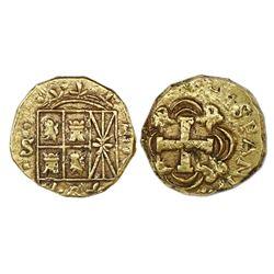 Bogota, Colombia, cob 2 escudos, Ferdinand VI, assayer S to left.