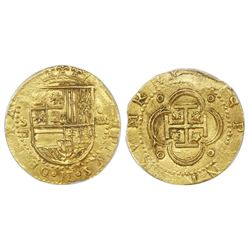 Seville, Spain, cob 4 escudos, Philip II, assayer Gothic D below mintmark S to left, PCGS MS62.