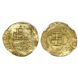 Seville, Spain, cob 4 escudos, Philip II, assayer Gothic D with open right side below mintmark S to