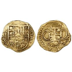 Seville, Spain, cob 2 escudos, 1593 date right, assayer B below mintmark S and denomination II to le