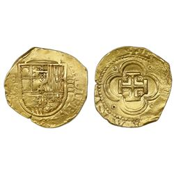 Seville, Spain, cob 4 escudos, Philip III, assayer B, OMNIVM in legend.