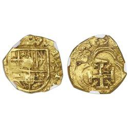 Seville, Spain, cob 1 escudo, 1629D, rare, NGC AU details / damaged.