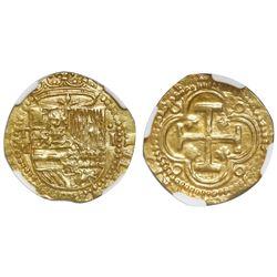 Toledo, Spain, cob 1 escudo, Philip II, assayer M below mintmark T to left, NGC UNC details / obv ri