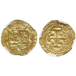 Toledo, Spain, cob 1 escudo, Philip II, assayer M below mintmark T to left, NGC UNC details / obv ri