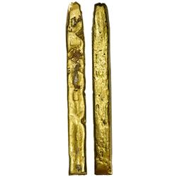 """Large, cut gold """"finger"""" bar #53, 1325 grams, fineness XVII (17K), marked with foundry / owner SARGO"""