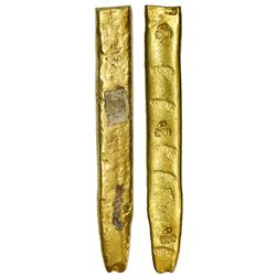 """Cut gold """"finger"""" bar #25, 563 grams, fineness XXI-dot-dot (21.5K), marked with foundry / owner SARG"""