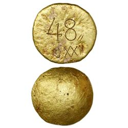 Small gold disk, 373 grams, marked with 48, small double-slash and A/V monogram, ex-Luz (1752), ex-S