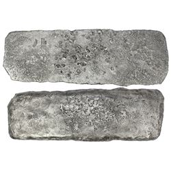 """Silver """"tumbaga"""" bar #M-152, 3615 grams, marked with owner/assayer YB13, owner/assayer INo/DeBCA and"""