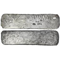 """Silver """"tumbaga"""" bar #M-90, 3145 grams, marked with owner/assayer B~Vo, serial RL and fineness iV9cc"""