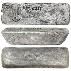 Large silver ingot #305 from Oruro, 88 lb 7.04 oz troy, Class Factor 0.8, with markings of manifest