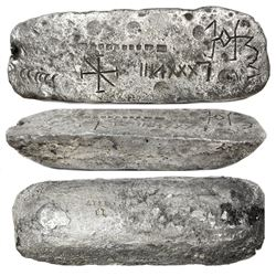 Large silver ingot #758 from Oruro, 78 lb 9.28 oz troy, Class Factor 0.9, with markings of manifest