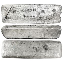 Large silver ingot #191 from Oruro, 68 lb 8.96 oz troy, Class Factor 0.9, with markings of manifest
