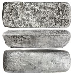 Large silver ingot #636 from Potosi, 93 lb 7.20 oz troy, Class Factor 0.9, with markings of manifest