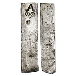 Neatly formed silver ingot, 1968 grams, about 98.5% fine, with stamps of the Amsterdam chamber of th