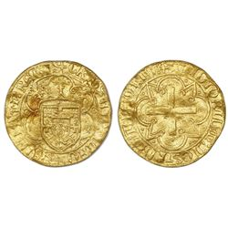 Lisbon, Portugal, gold cruzado, Afonso V (1438-81, struck 1457-81), dot below cross, legends CRVZATV