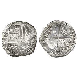 Potosi, Bolivia, cob 8 reales, Philip II, assayer B (3rd period, small-B variety), Grade 1.