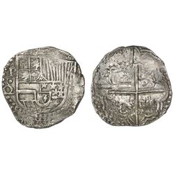 Potosi, Bolivia, cob 8 reales, Philip III, assayer Q below erased C, very rare, Grade 1, ex-Vanguard