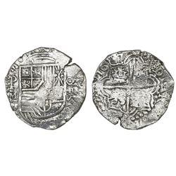 Potosi, Bolivia, cob 8 reales, 1617M, denomination O-III-V, Grade 1.