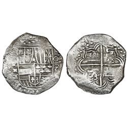Potosi, Bolivia, cob 8 reales, 161(8)T, denomination o-8, Grade 1.