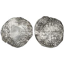 Potosi, Bolivia, cob 8 reales, 1620T, retrograde mintmark, Grade 1.