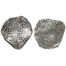 Potosi, Bolivia, cob 8 reales, 1620T, upper half of shield and quadrants of cross transposed, Grade