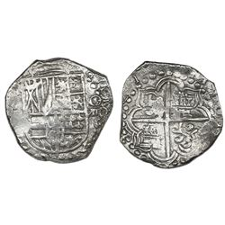 Potosi, Bolivia, cob 8 reales, (16)21(T), quadrants of cross and upper half of shield transposed, Gr