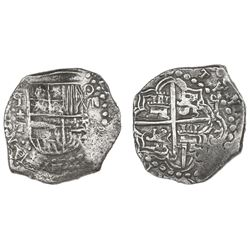 Potosi, Bolivia, cob 8 reales, Philip III, assayer T, retrograde mintmark, Grade 1.