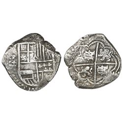 Potosi, Bolivia, cob 8 reales, Philip III, assayer T, castles rotated 90 degrees counterclockwise (r