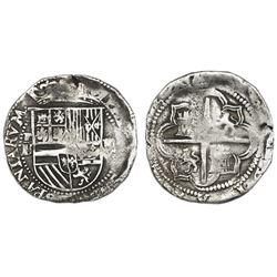 Potosi, Bolivia, cob 4 reales, Philip II, assayer B/L (2nd period), Grade 1, ex-Hebert.