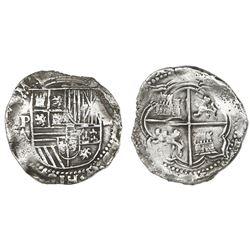 Potosi, Bolivia, cob 4 reales, Philip II, assayer A, Grade 1.