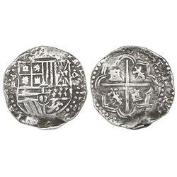 Potosi, Bolivia, cob 4 reales, Philip II, assayer RL, Grade 1.