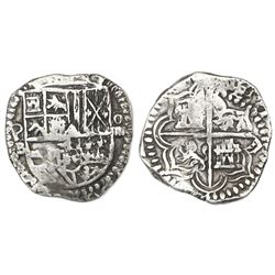 Potosi, Bolivia, cob 4 reales, Philip II, assayer B (5th period), Grade 1.