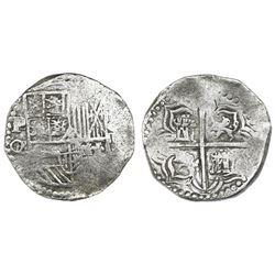 Potosi, Bolivia, cob 4 reales, Philip III, assayer Q/R, very rare, Grade 2.