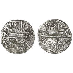 Potosi, Bolivia, cob 4 reales, Philip III, assayer M/Q, rare, Grade 1.
