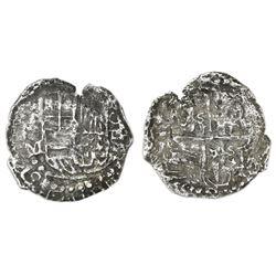 Potosi, Bolivia, cob 4 reales, Philip III, assayer M, quadrants of cross transposed, 16 points (Grad