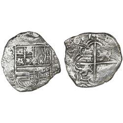 Potosi, Bolivia, cob 4 reales, 1617M, Grade 1.